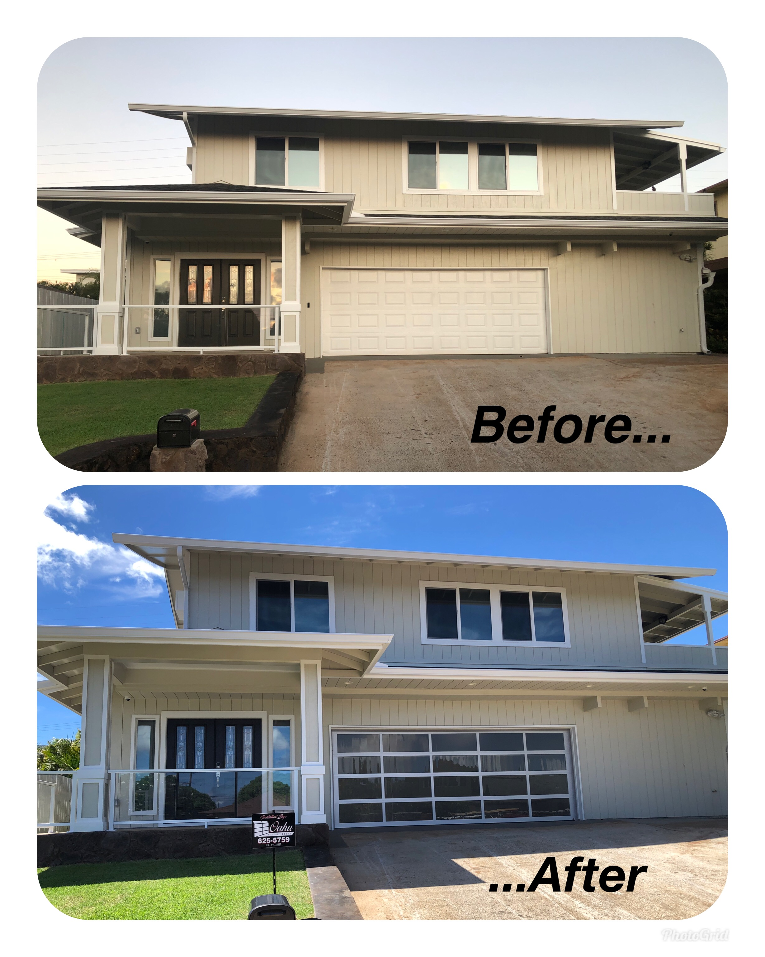 before after oahu garage doors
